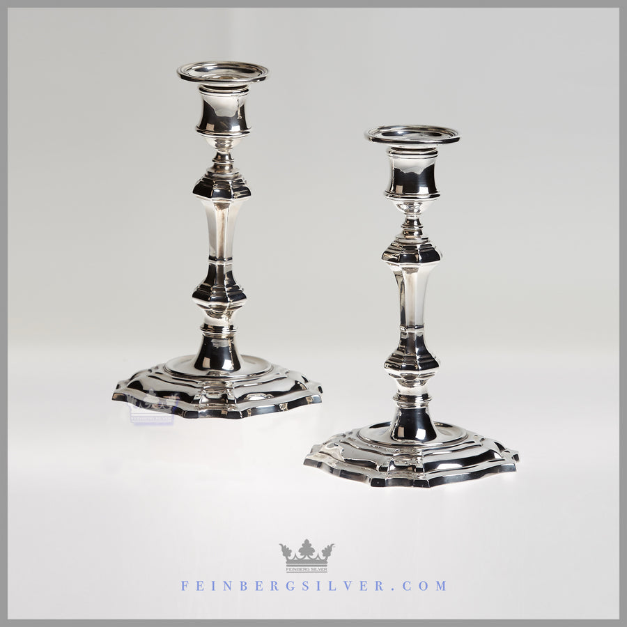 Pair of Antique English George I Style Candlesticks - c. 1875 | William Hutton & Antique Silver Plated Candlesticks For Sale | Vintage Silver Candle ...