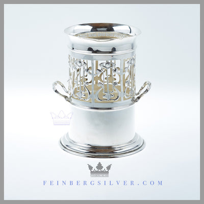 Feinberg Silver - The vertical syphon stands top half is pierced with a stylized lyre design.