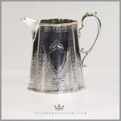 Antique English Silver Plated Cann Shaped Sugar and Creamer - Martin Hall