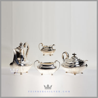 James Dixon Tea and Coffee Sets Silver Plated EPNS Ivory Ebony For Sale | Feinberg Silver