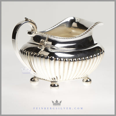 Antique English Silver Plated Fluted Oblong Tea and Coffee Service - James Dixon