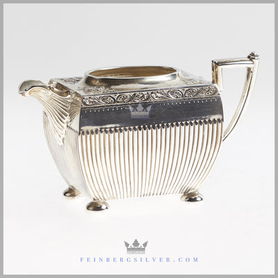 Antique English Silver Plated Fluted 4 pc Tea & Coffee Set - circa 1865 | Philip Ashberry