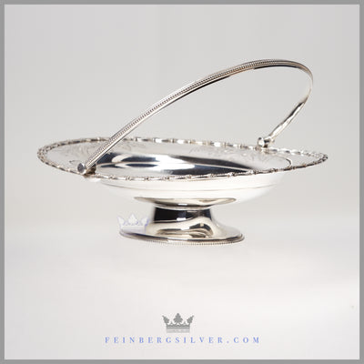 Antique English Silver Plated Basket - Hand Engraved | c.. 1860