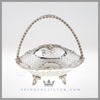 Antique Silver Victorian Basket Brides Basket Feinberg Silver | The oval English silver plated basket has an applied scroll and shell border with pierced sides and a central shield.