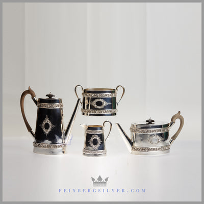 Tea and Coffee Set Charles Favel Silver Plated EPNS Walnut Ebony Antique Victorian For Sale | Feinberg Silver