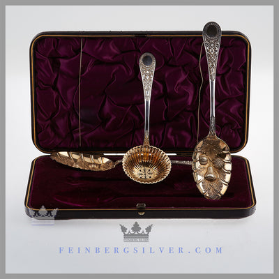Antique English Silver 3 Piece Fruit Set in Case | Feinberg Antique English Silver Gifts - Purveyors of Fine Sterling Silver