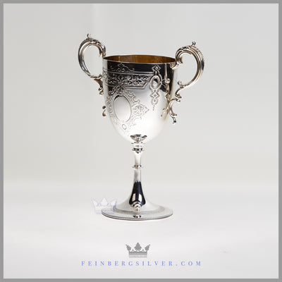Antique English Silver Plated 2 Handled Goblet/Cup | William Marples | Circa 1875