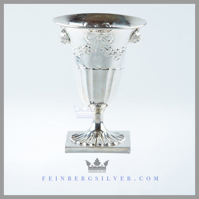 Feinberg Silver - The 1/2 fluted vase has hand chased garland and ribbons.