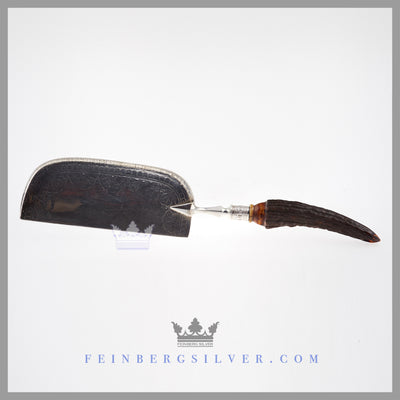 Antique English Silver and Shed Stag Handle Crumber | Feinberg Antique English Silver Gifts - Purveyors of Fine Sterling Silver