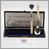 Pair Silverplate & Ivory Jam Spoons in Case c. 1895 Harrison Fisher