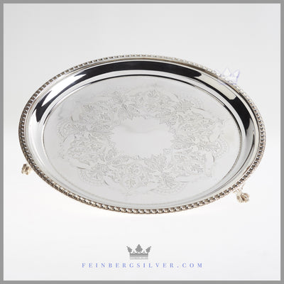 Antique English Silver 12 inch Salver | Feinberg Silver