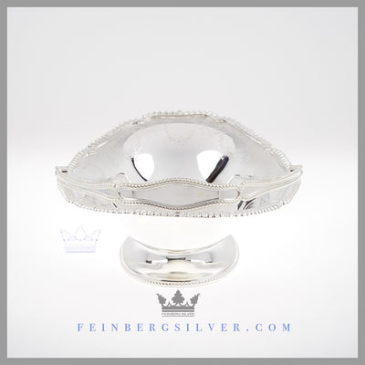 Feinberg Silver - The English silver plated basket is oval, reticulated with a gadroon border.