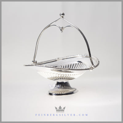 Oval Fluted English Silver Plated Basket - circa 1860