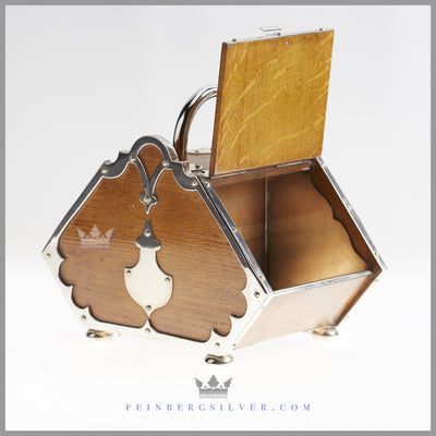 Antique English Silver and Oak Double Biscuit Box | Feinberg Silver