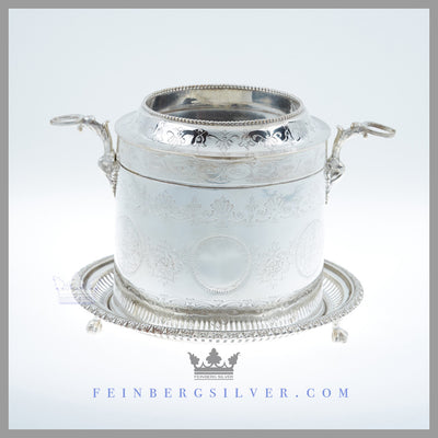 Henry Atkins and Sons Biscuit Box Silver Plated EPNS Antique Victorian For Sale | Feinberg Silver