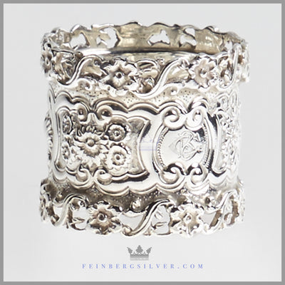 Ornate Antique English Sterling Napkin Ring | Feinberg Silver