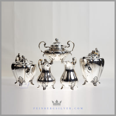 Henry Wilkinson Antique Sterling Silver Tea Set 5 piece For Sale Henry Wilkinson Feinberg Silver