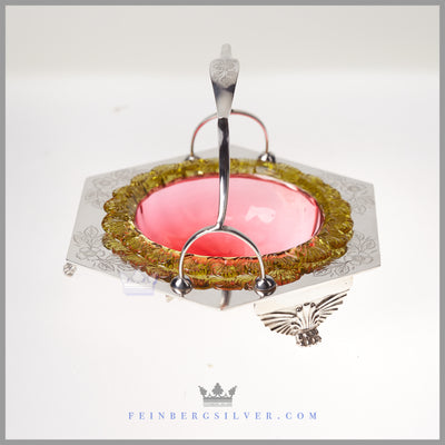 Antique English Silver Plated and Glass Candy Dish - c. 1880 | Walker & Hall