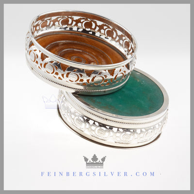 Pair of English Silver Plated Bottle/Wine Coasters c. 1865