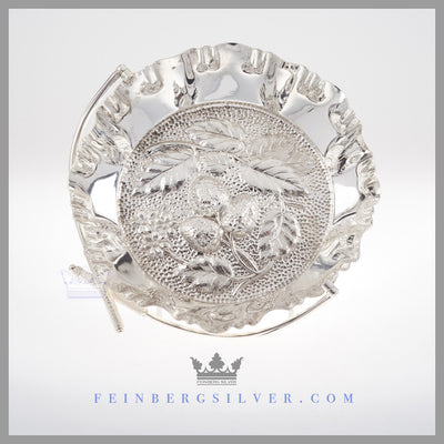 Victorian  silver brides basket wedding centerpiece Feinberg Silver - The round English silver plated basket has a swing handle with Scottish thistles on the top of the handle.