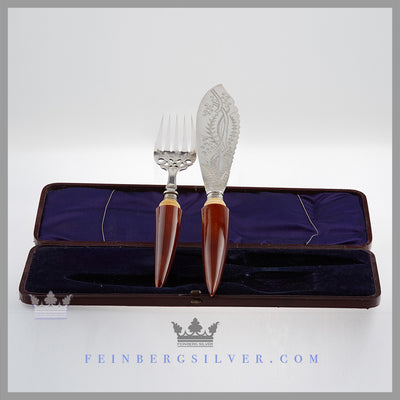 Antique English Silver & Ivory Tusk Fish Servers in Case | Feinberg Antique English Silver Gifts - Purveyors of Fine Sterling Silver