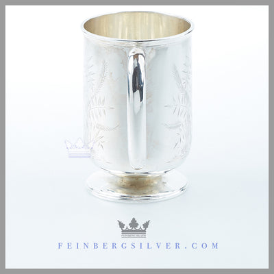 Feinberg Silver - The English silver plated child's mug/cup has a round body, vertical and round base.