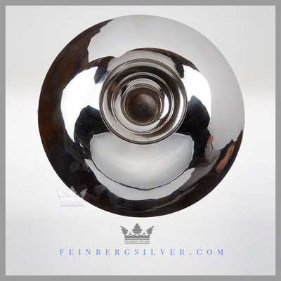 Feinberg Silver - The round English silver plated basket has a gadroon border and stands on a bead pedestal base.