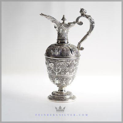 "Very Fine, Rare Antique English Silver Plate ""Celini"" Jug/Ewer - c. 1850 
