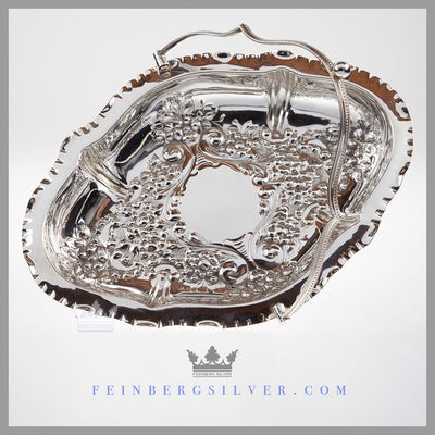 Antique Silver Basket Wedding Centerpiece Victorian Feinberg Silver - The English silver plated basket is reticulated and oval shaped with a crimped edge