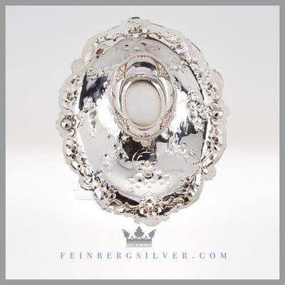 Feinberg Silver - The English silver plated basket is oval and reticulated with a bead, leaf and floral edge.