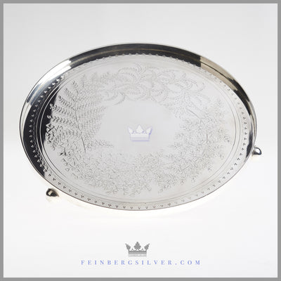 "Antique English Silverplated 12"" Gallery Waiter/Salver - circa 1865, Fern 