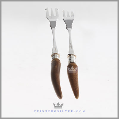 Antique English Silver and Stag Horn Brad Fork | Feinberg Silver