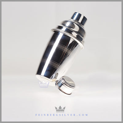 Antique English Silverplated Cocktail Shaker - Engine Turned - circa 1910 | James Deakin