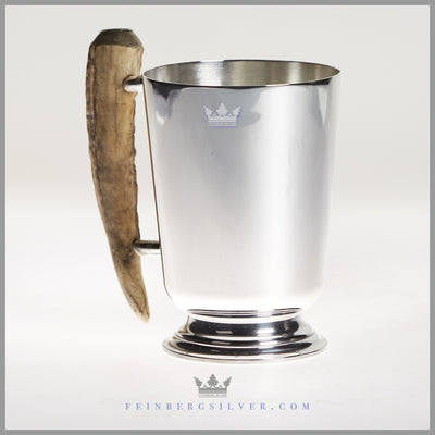 Vintage English Silverplate and Stag Handled Mug c.1930 | Pinder Brothers