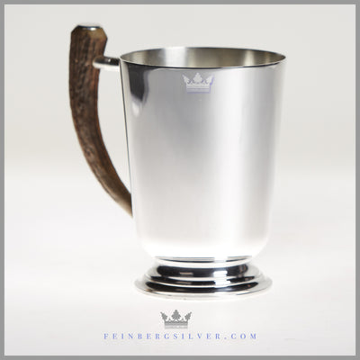 Vintage Silver Beer Mug with Stag handle. English Antique silverplate Sheffield. Feinberg Silver