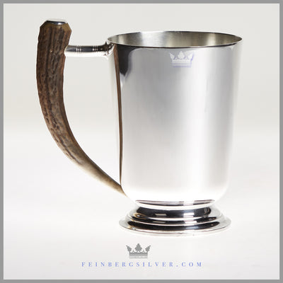 Antique English Silverplate & Stag Handle Mug - circa 1930 | Pinder Brothers