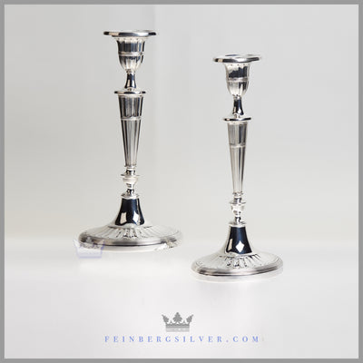 Pair of Antique English Silver Plated Oval Fluted Candlesticks - c. 1875 | Walker & Hall
