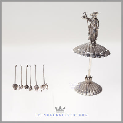 Rare, Unusual Hors d'oevre Picks and Stand - Antique Silverplate c. 1900 | Continental