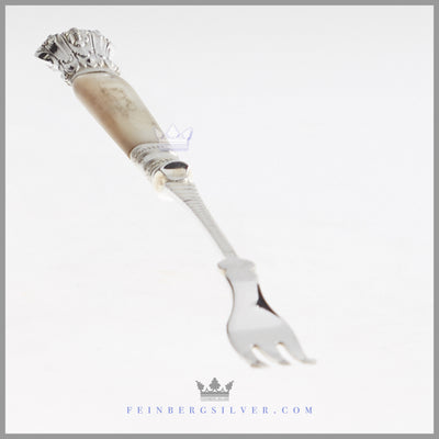 Antique English Silver Plated & MOP Pickle Fork - circa 1880