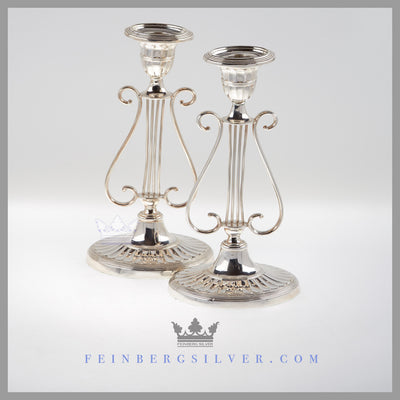 Feinberg Silver - The oval fluted base English silver plated pair of lyre candlesticks