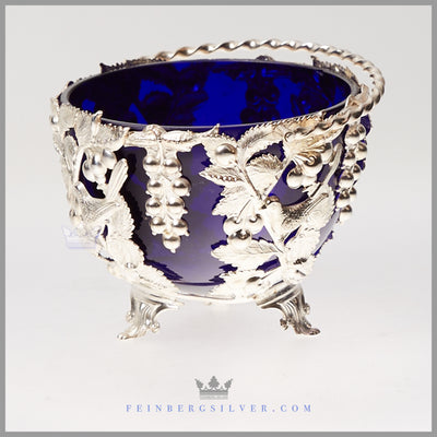 Antique silver candy dish with cobalt glass for sale. English victorian silver bowl. Feinberg silver