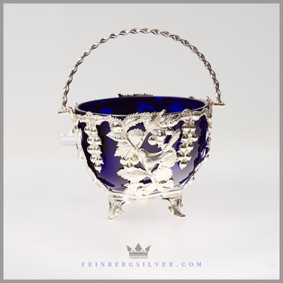 Antique English Silverplate Candy Dish w/ Cobalt Liner - c.1880