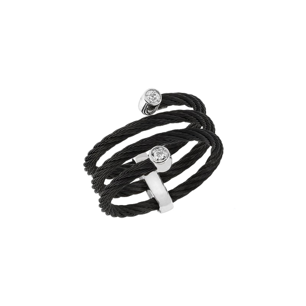 Alor Diamond and Black Cable Wrap Ring