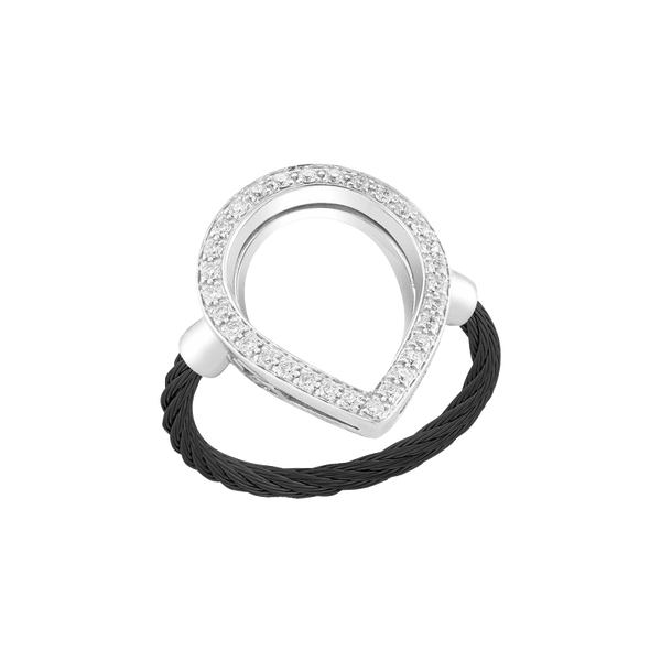 Alor Pear Open Diamond and Cable Ring