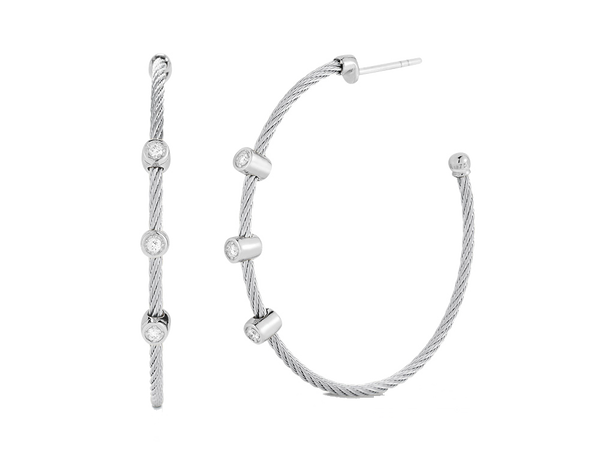 Alor Diamond and Cable Hoop Earrings