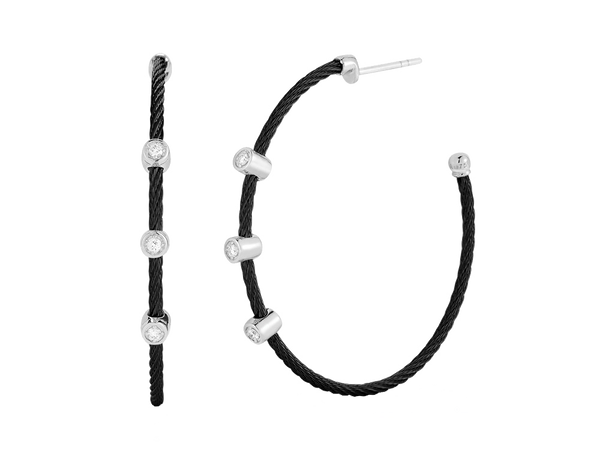 Alor Diamond and Black Cable Hoop Earrings