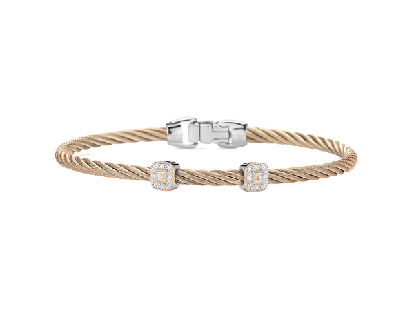 Alor Diamond and Carnation Gold Cable Bangle Bracelet