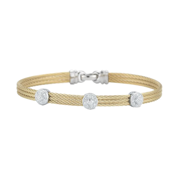 Alor Diamond and Yellow Cable Bangle Bracelet