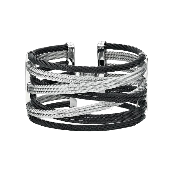 Alor Black and Grey Cable Bangle Bracelet