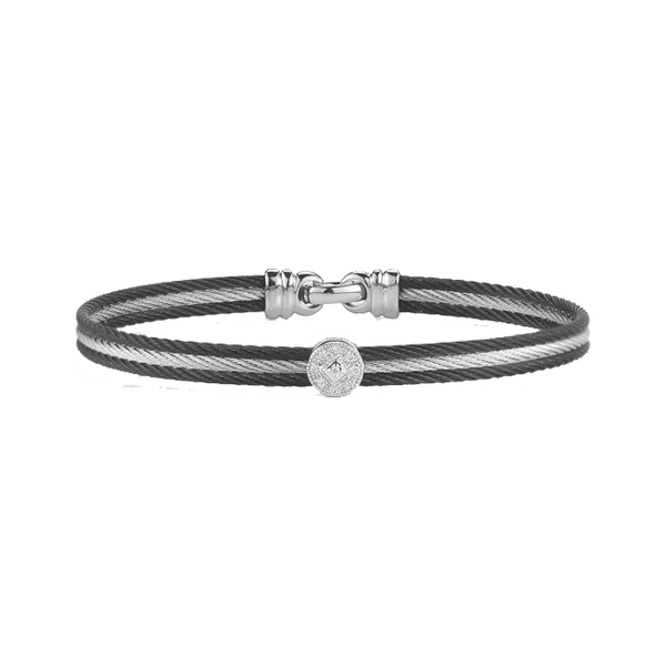 Alor Diamond and Black Cable Bangle Bracelet